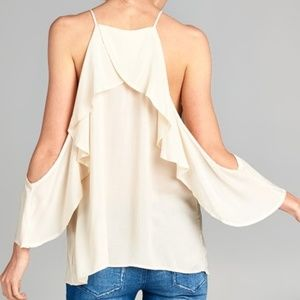 New Off Shoulder Cream Ruffle Top Blouse M L